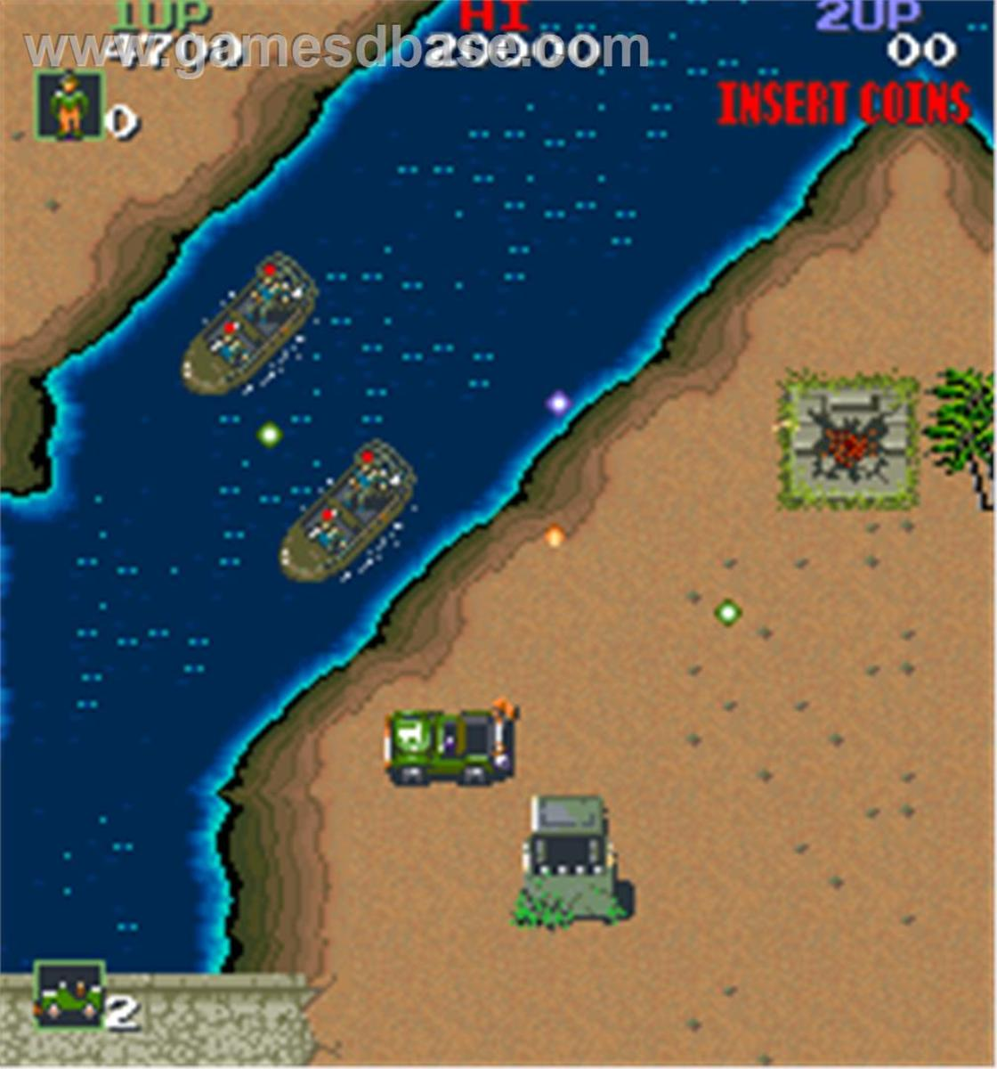 Your jeep takes on enemy boats in Konami's Jackal