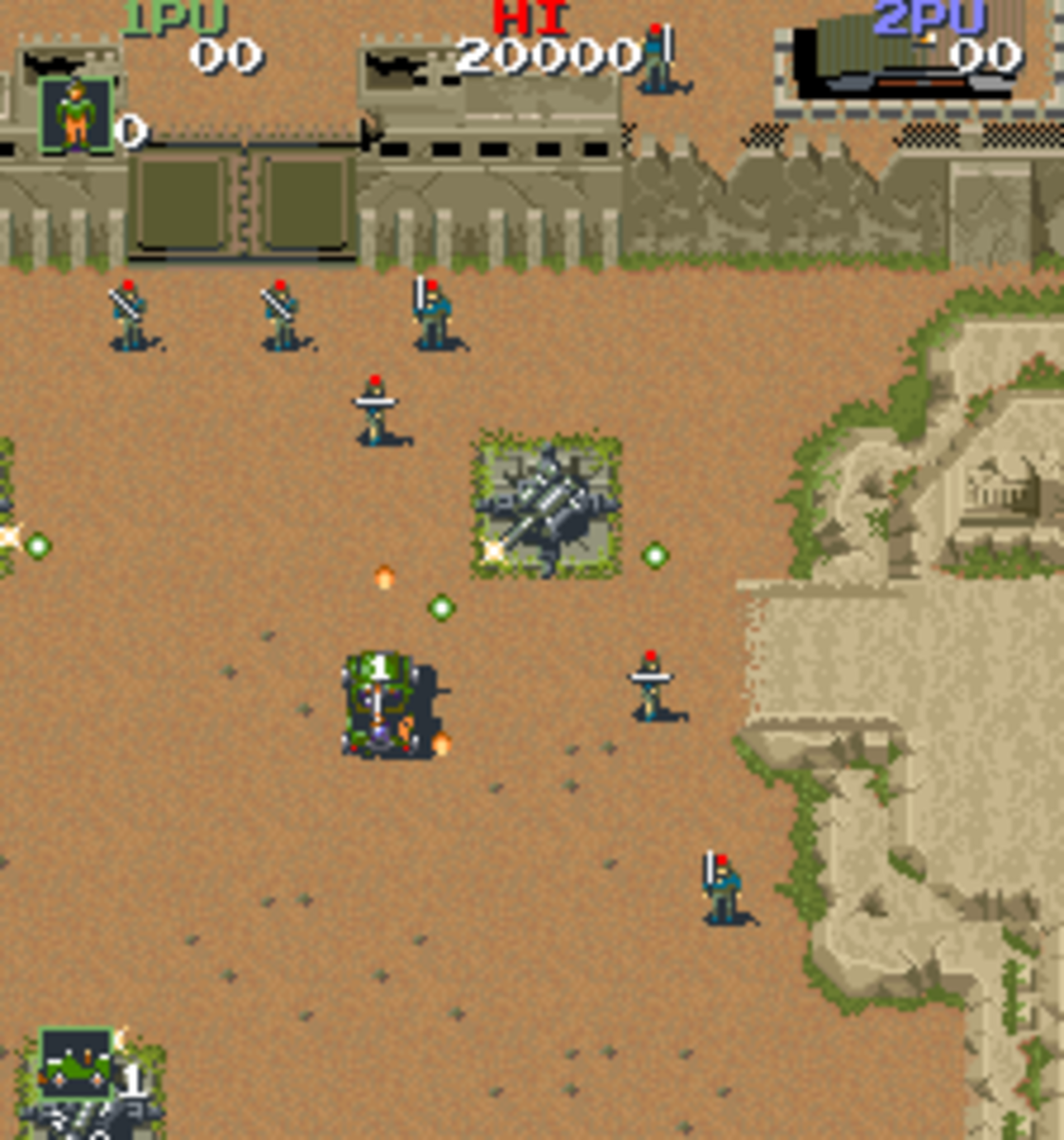 Take out the enemy soldiers in Konami's Jackal