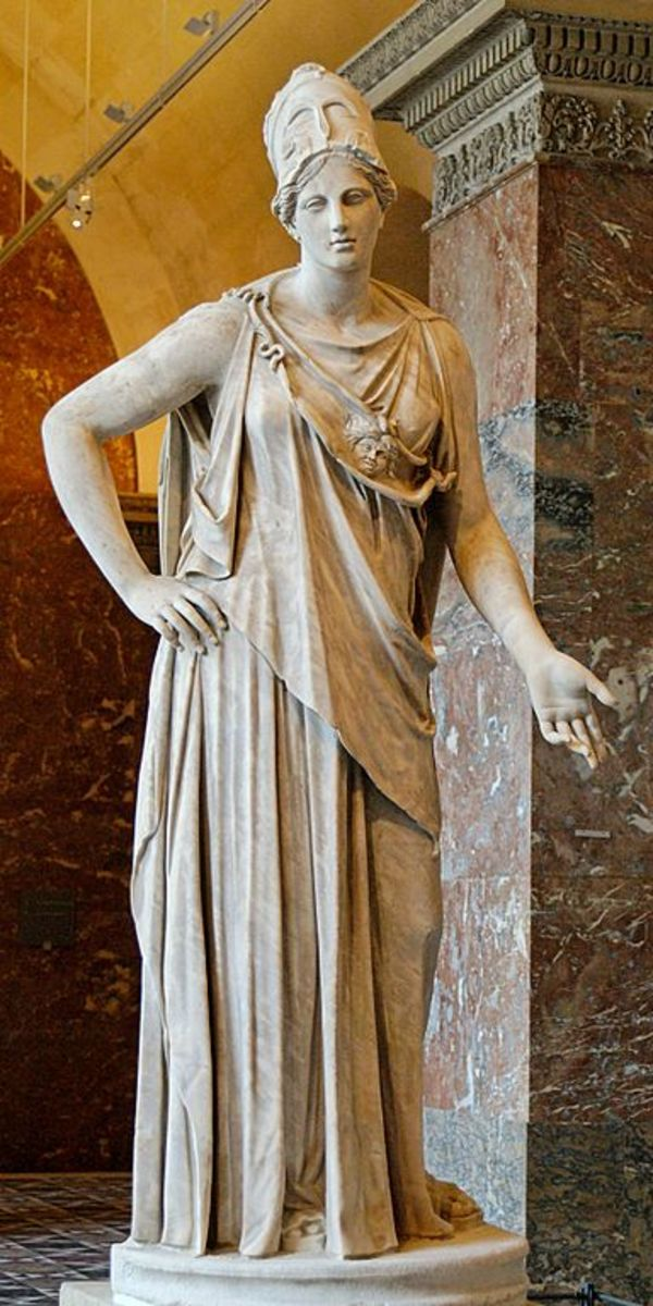 Athena, Greek goddess of wisdom and war.