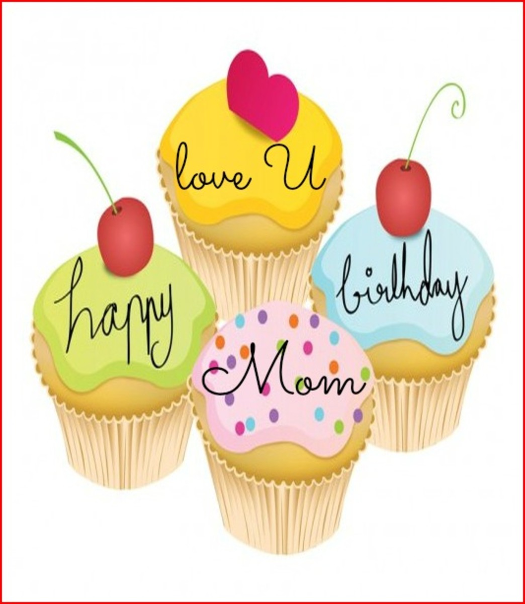Mother Birthday Quote on Cupcakes