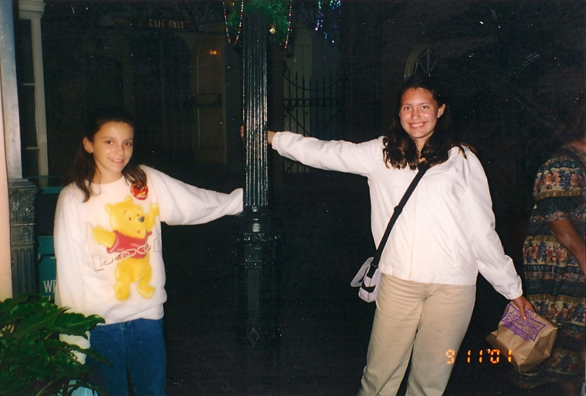 On my 13th birthday in front of the gates to the Court of Angels in 2001 with Jen.