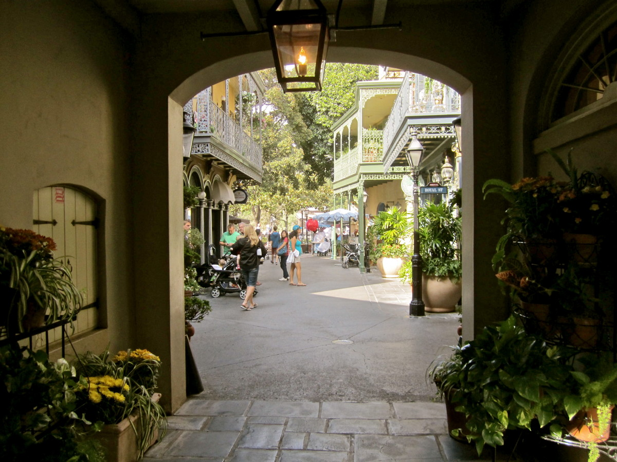 The main entrance into the courtyard looking out into New Orleans Square.