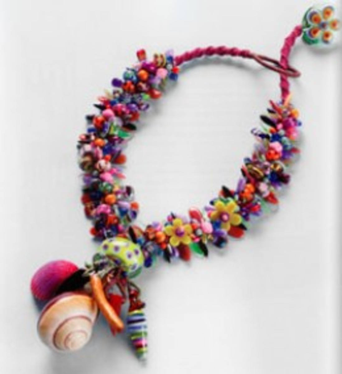 "Another project in the book ""Designing Jewelry With Glass Beads"". This is a similar project to the spiny knotted bracelet, only done as a necklace with focal beads added. For the adventurous beader!"