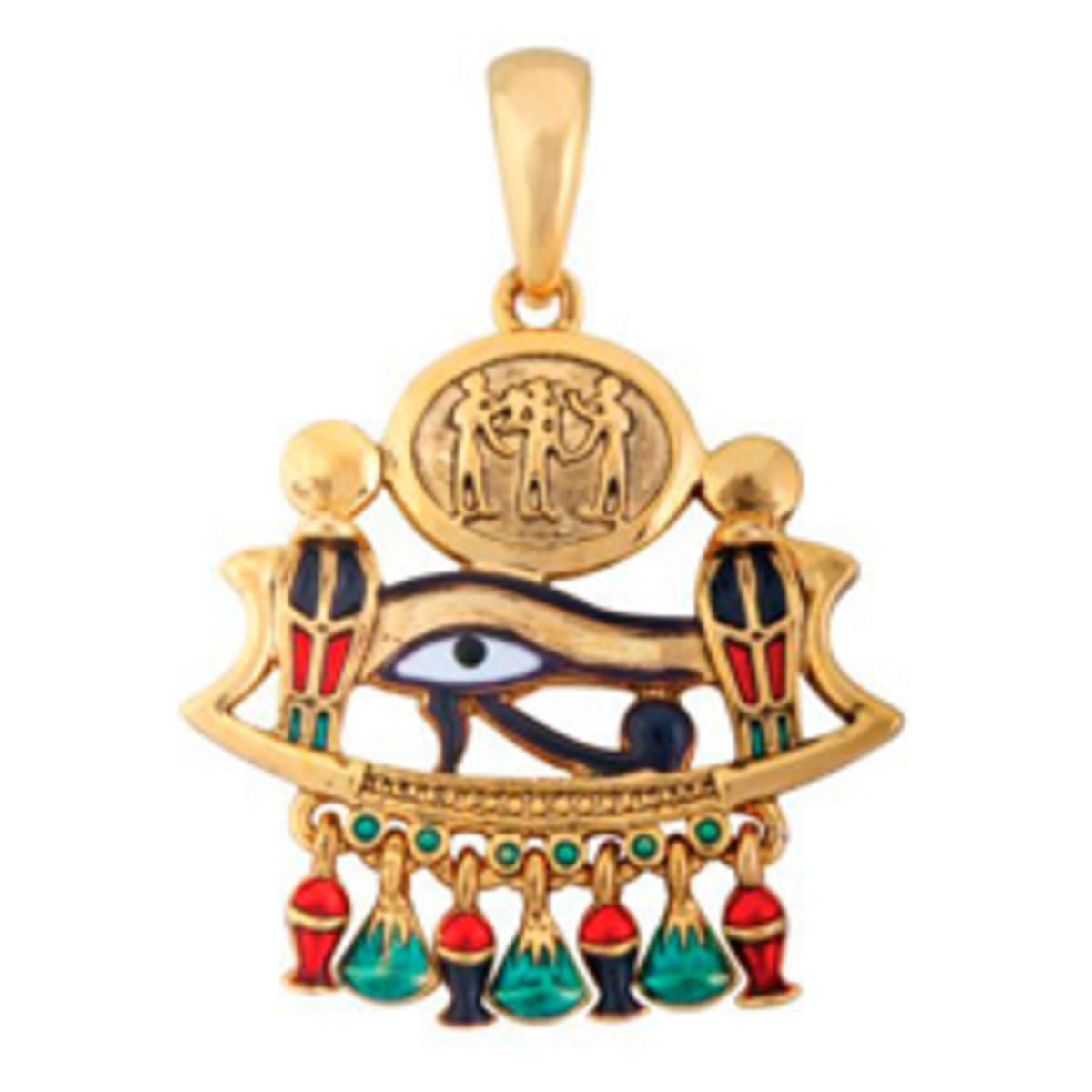 "The ""Eye of Horus"" pendant available from Amazon displays a good selection of the colouring used in ancient Egyptian gold jewellery."