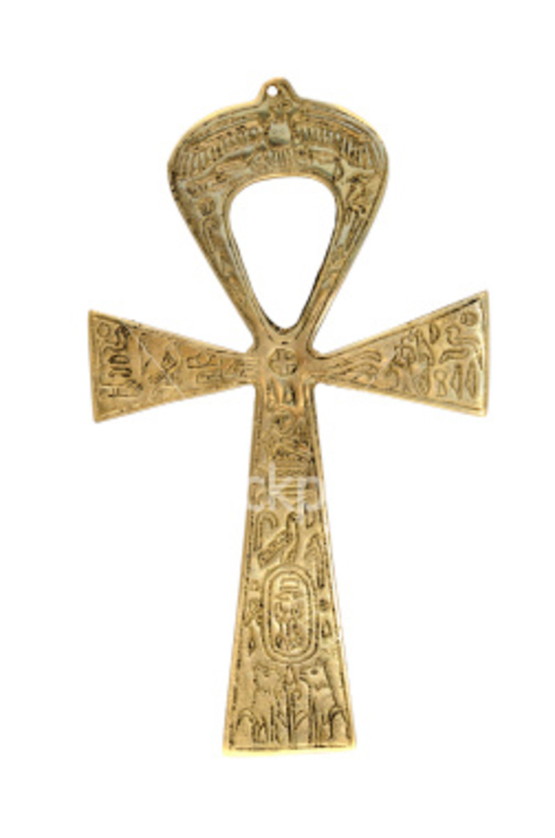 The Egyptian ankh shape has unknown origins, but many think it is derived from a sandal strap. Pictorial Egyptian deities often carry the ankh in their hands.