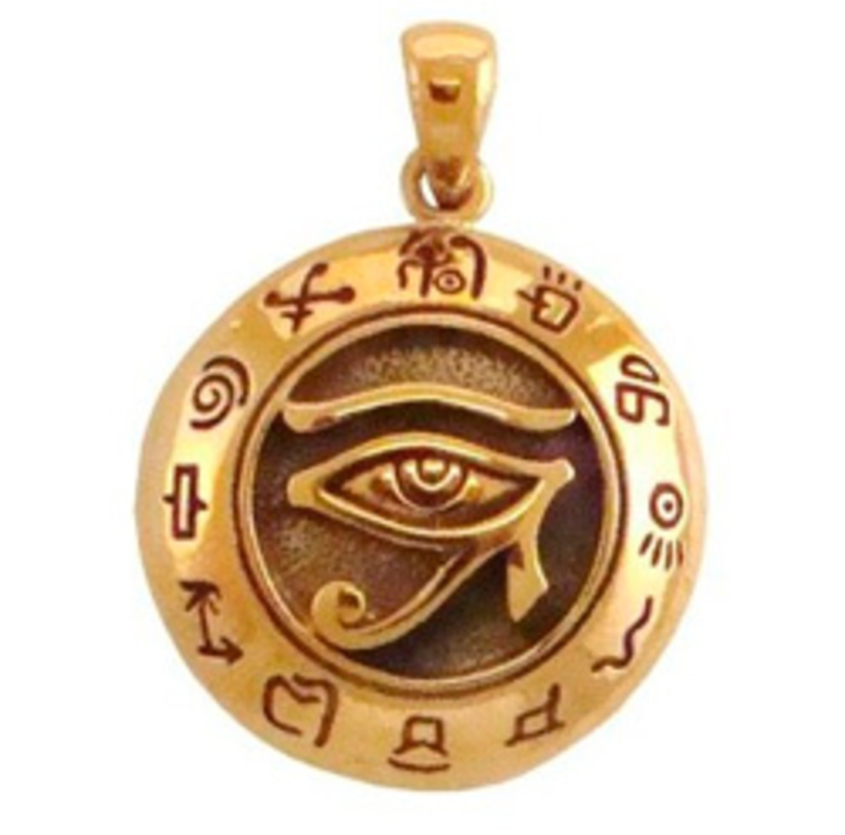 This bronze Egyptian pendant modelled on the Udjat Eye of Horus Ra is a good example of the sun energy jewellery and is available from Amazon.
