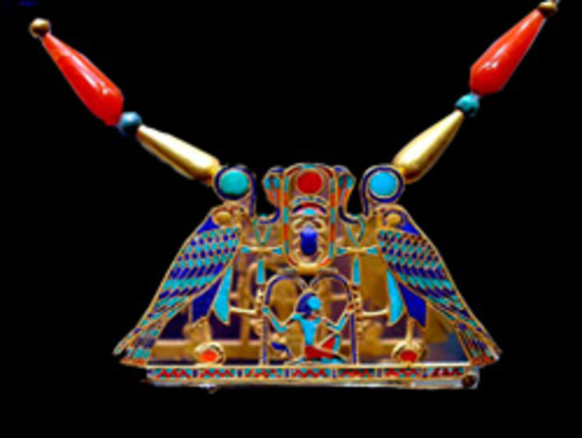 A pectoral of King Senusret II from the tomb of Sit-Hathor Yunet. Note the Ankhs and the uses of symbols and colour to depict the complexity of an ancient Egyptian society.