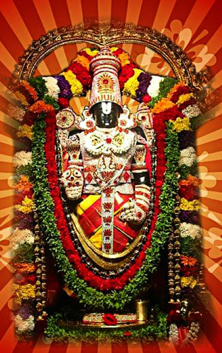 An idol of Tirupati Balaji or Venkateshwara which shows him pointing to His feet with the right hand - a directive for every devotee to follow.