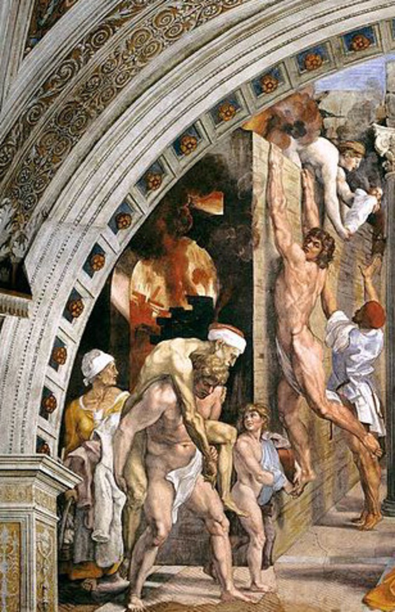 Raphael, Fire in the Borgo, Vatican Apartments, 1514
