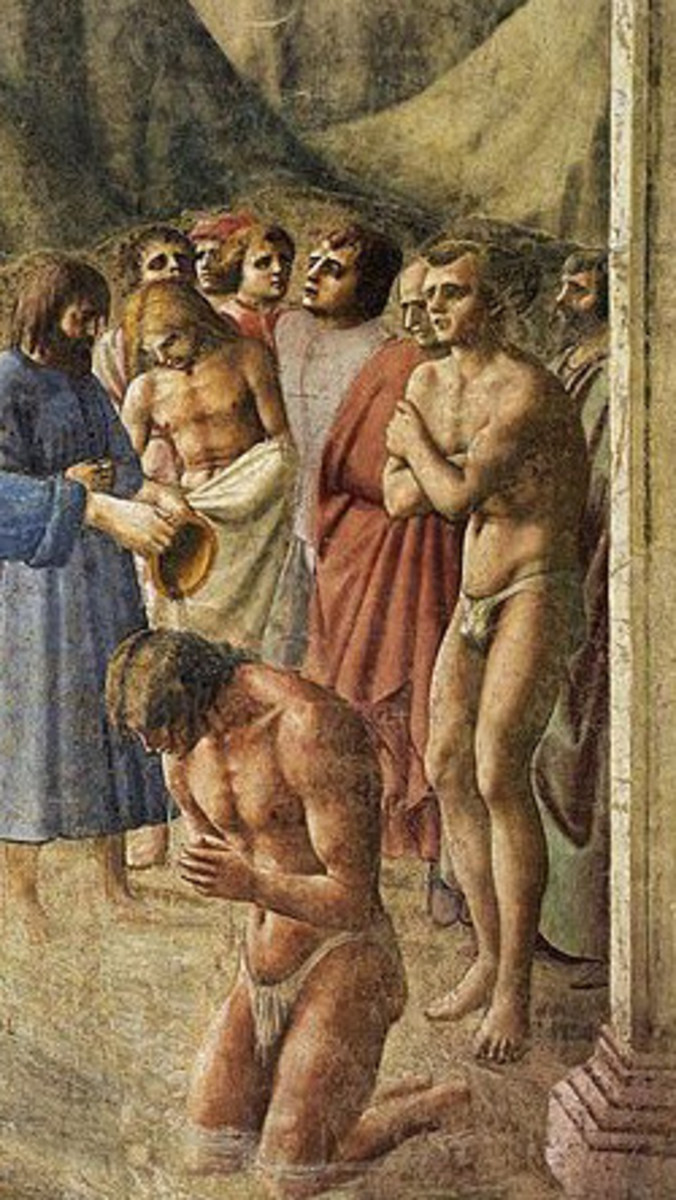Masaccio, Baptism of the Neophites, Florence church of Carmine, 1425