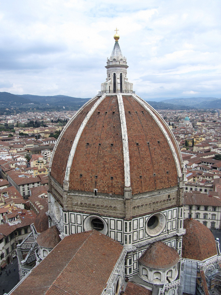 """The Brunelleschi's Dome in the Florentine church of Santa Maria del Fiore. Brunelleschi considers this work one of the """"miraculous parts than we have not done better in our time and maybe even in the future times""""."""