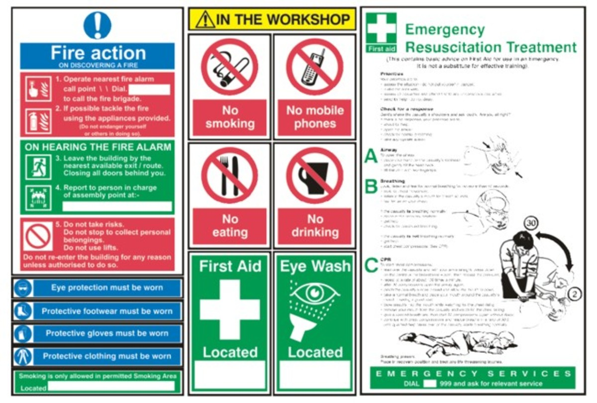 Workshop Safety Signs. The signs show how to work safe in workshops.
