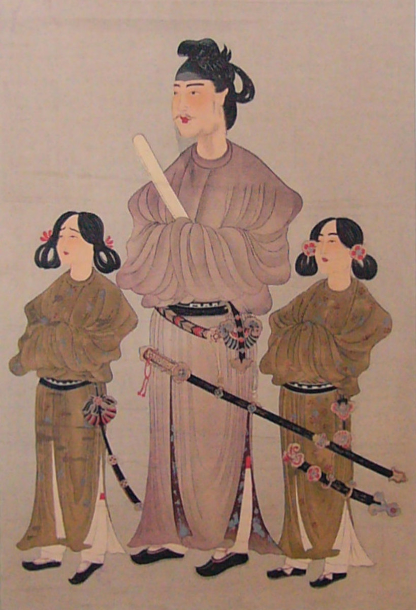 Prince Shotoku, wearing the Chinese fashions popular in the Asuka Period.