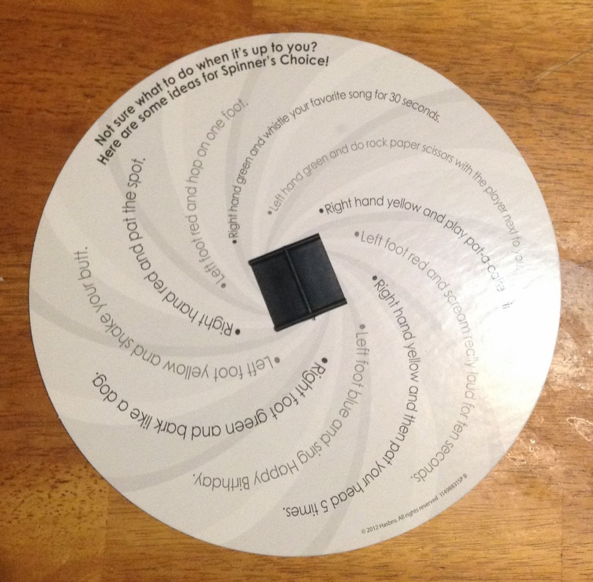 This is the back of the spinner. It provides some fun ideas to call out for Spinner's Choice!