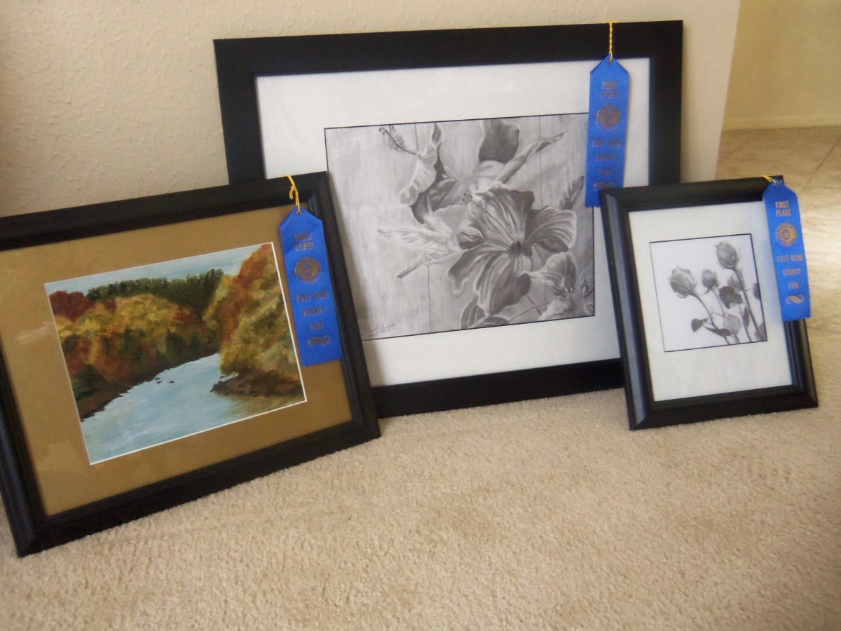 Sherrill's drawing and paintings helped her take home blue ribbon wins after entering the Fort Bend County Fair!