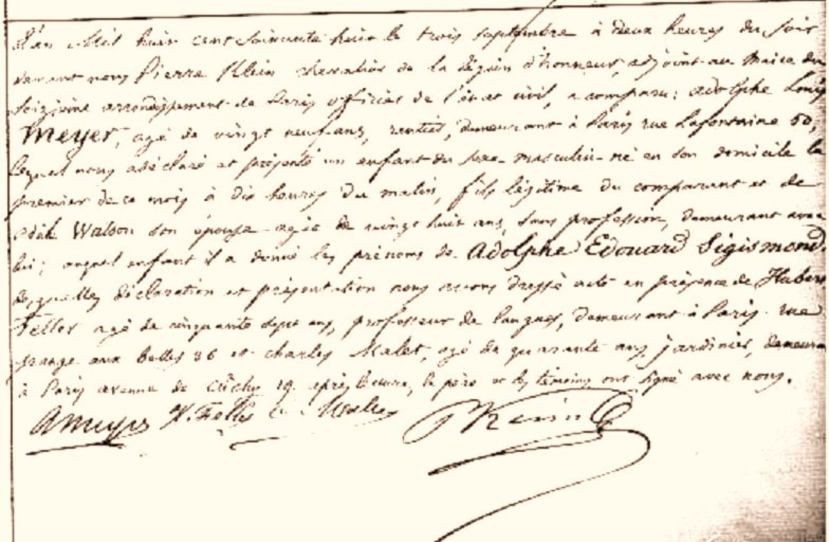 French registration of Adolphs birth