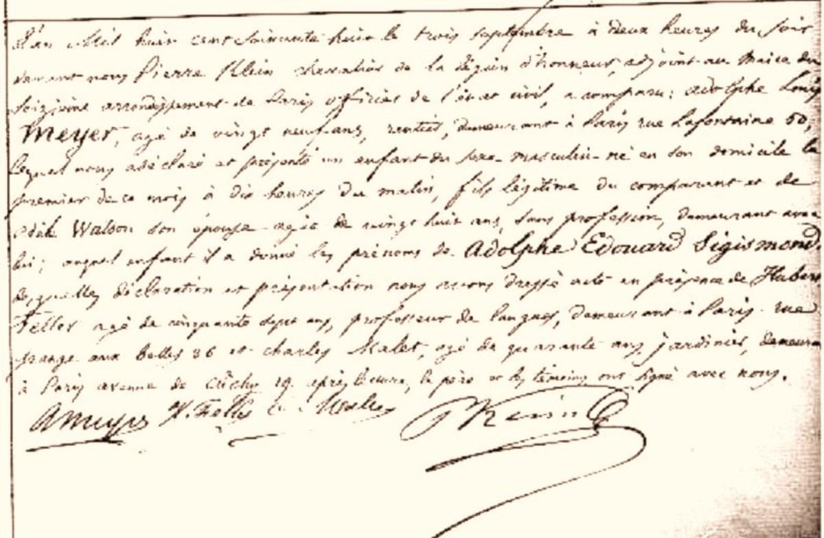 French registration of Adolphs birth