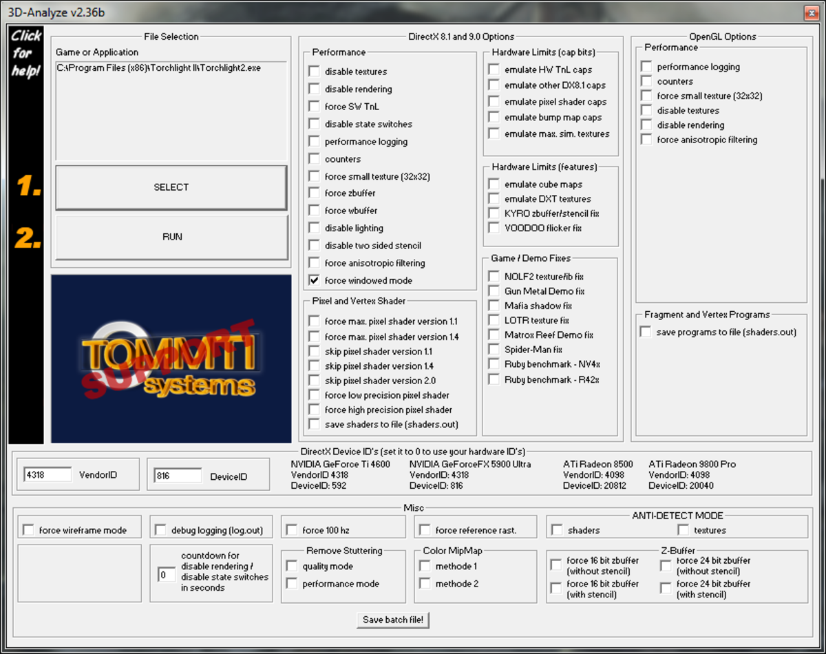 Screenshot capturing the required settings for 3D Analyze in order to force Window Mode on your games.
