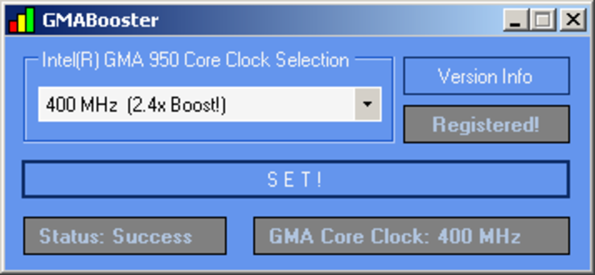 GMA Booster after activating 2.4x boost to your graphics processor.