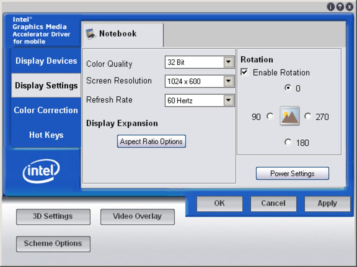 The Display Settings tab on the Intel GMA video adapter settings.