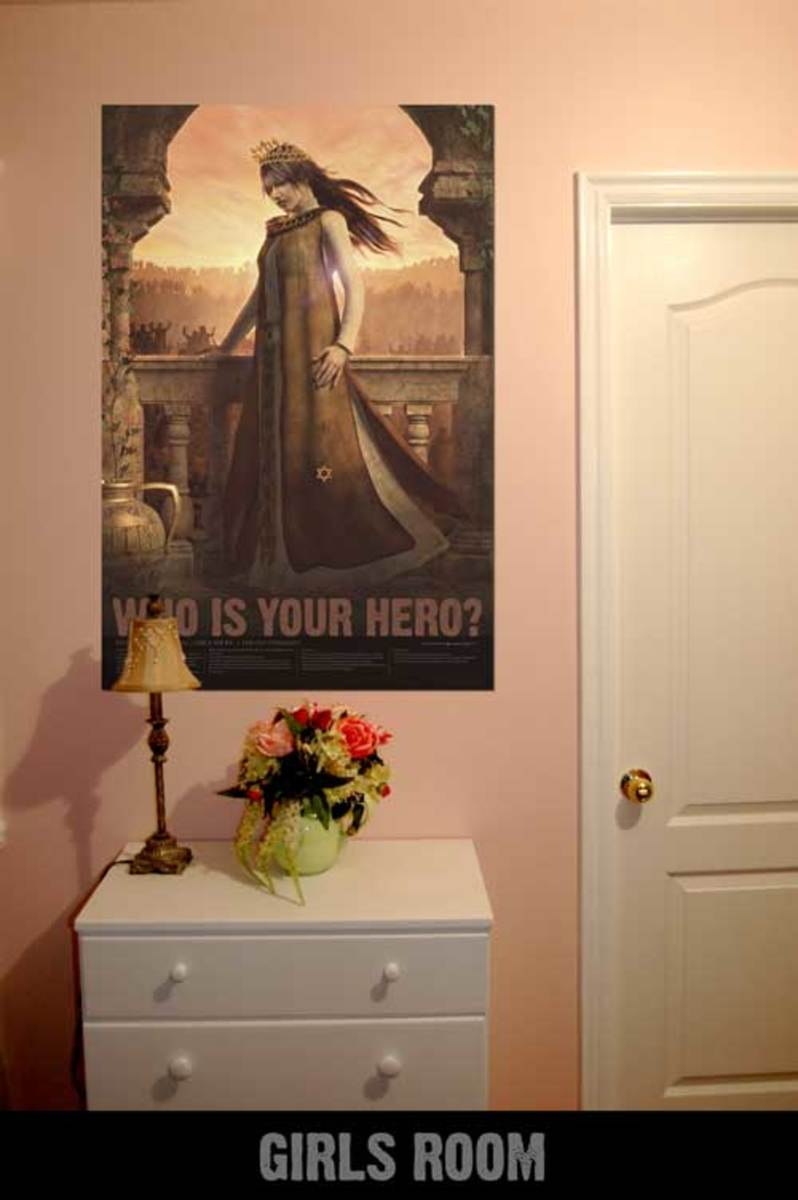 Example from www.bibleherosposters.com of Esther in a girl's room.
