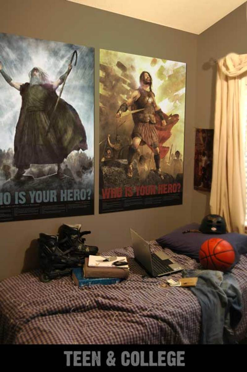 Another example of the posters used in a teen's room from www.bibleherosposters.com