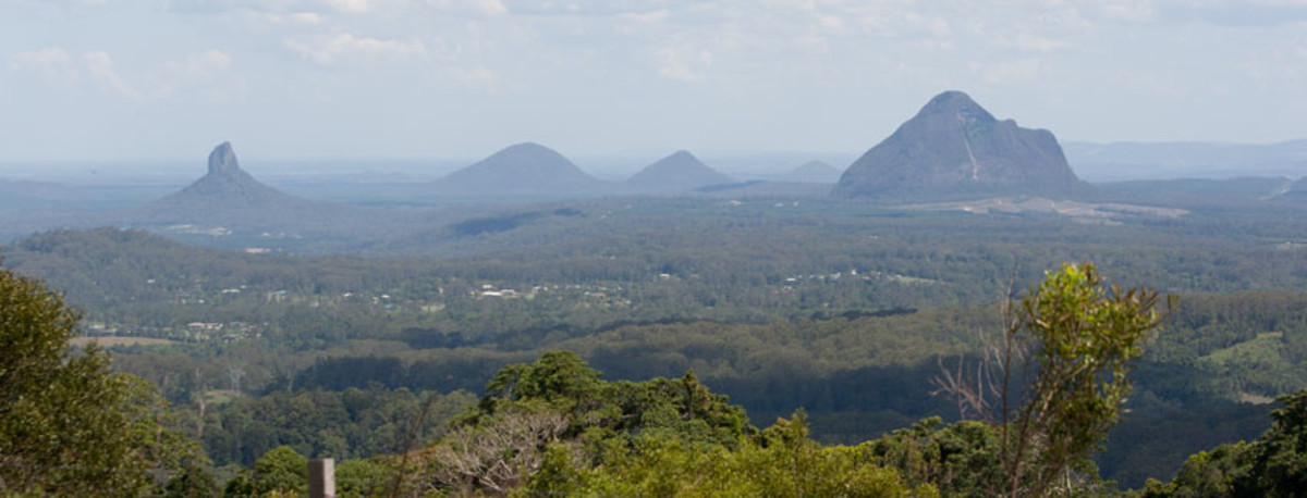 View of the Glasshouse Mountains from Maleny