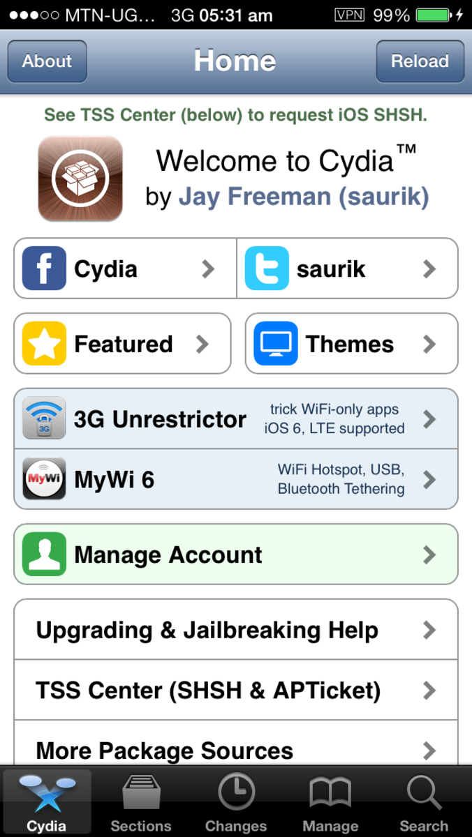 The Home page for Cydia
