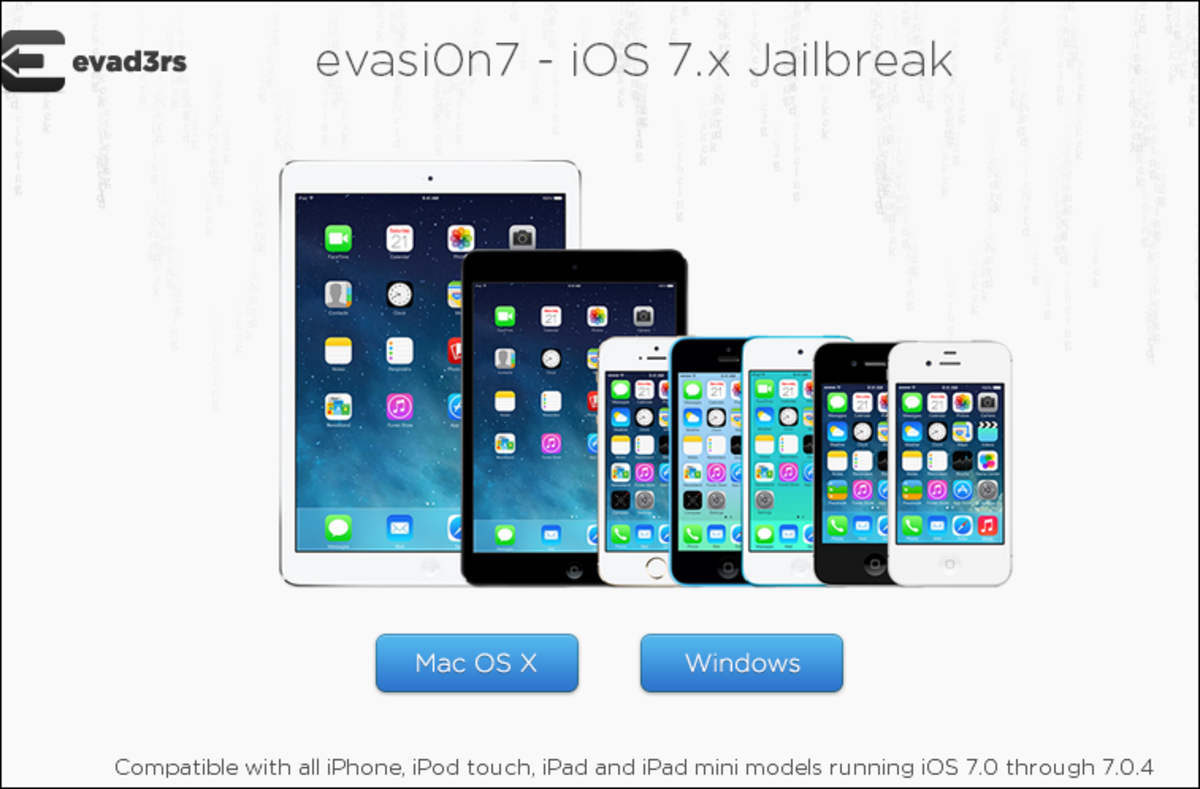 The Evasi0n jailbreak download page