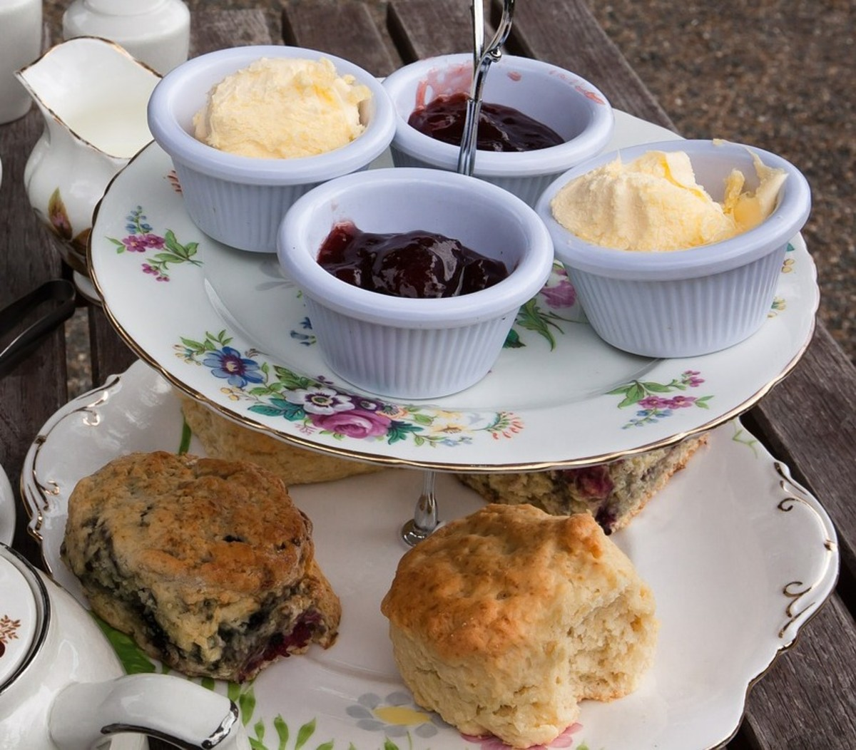 Serve scones with jam, cream and butter.