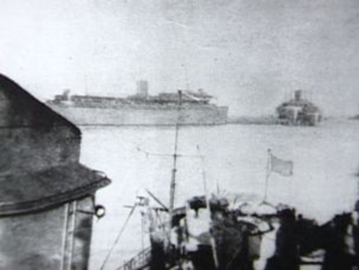 The last known photo of the Wilhelm Gustloff as she leaves Danzig. This photo provided a key clue to historians. The ship is riding very low in the water, evidence of it's overcapacity.