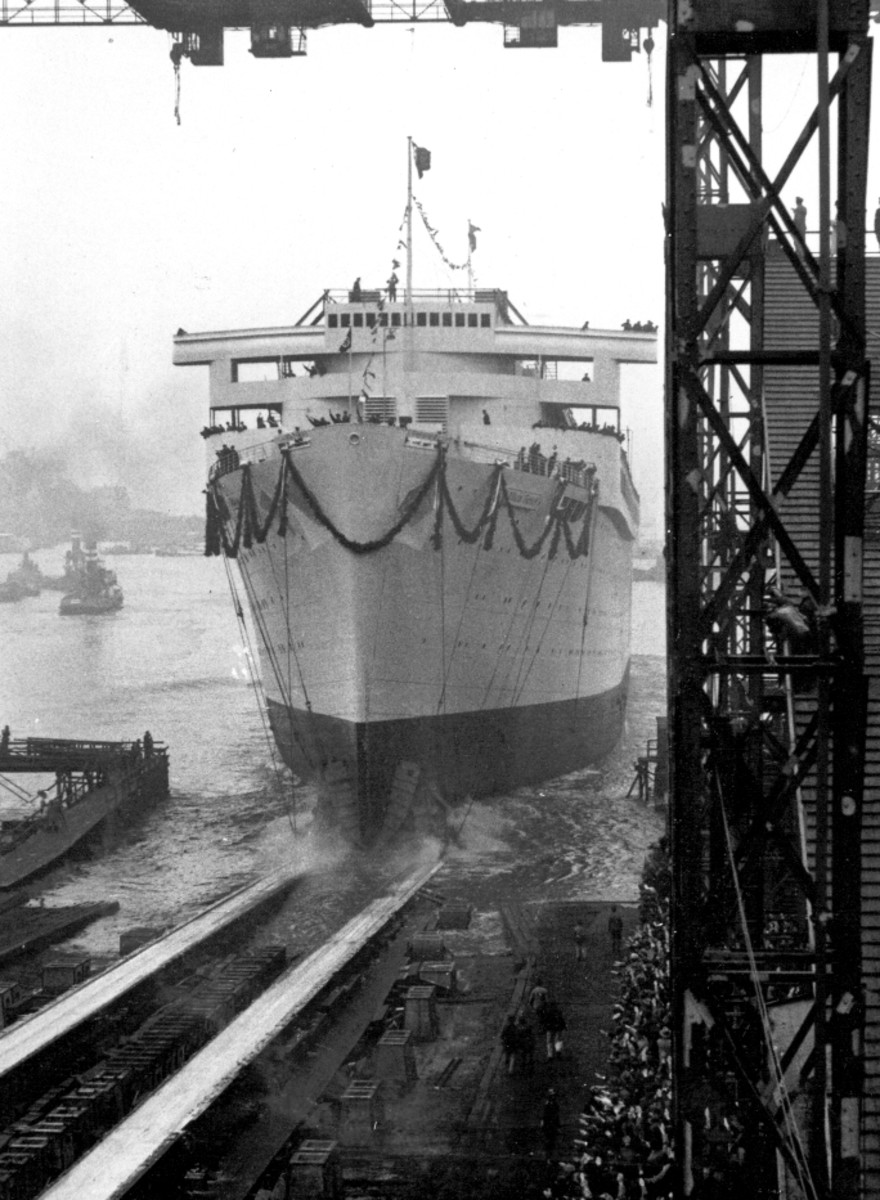The ceremonious launching of the Gustloff in 1937.