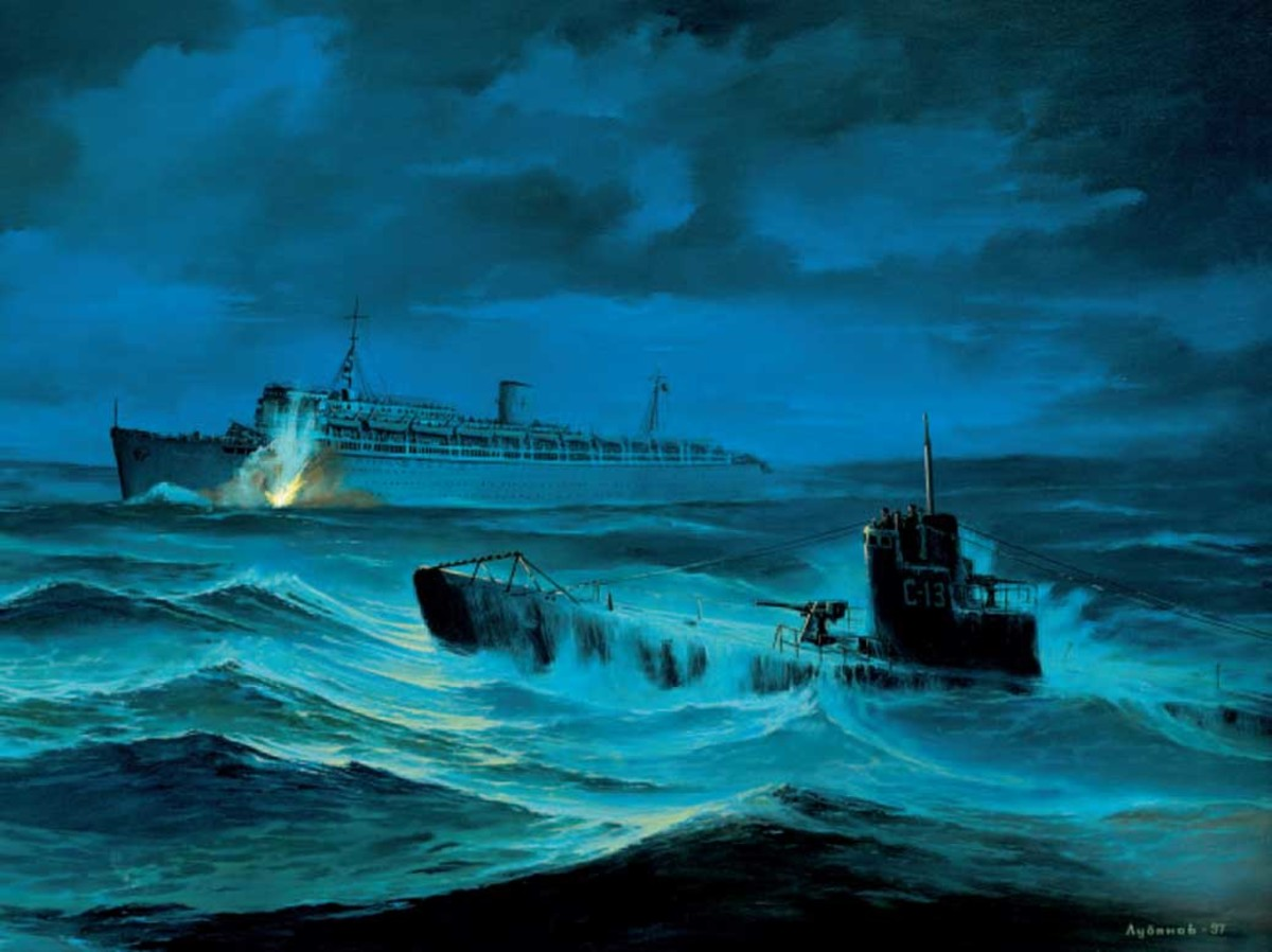 An artist's depiction of the Wilhelm Gustloff first torpedo hit from the S-14 Soviet Submarine.