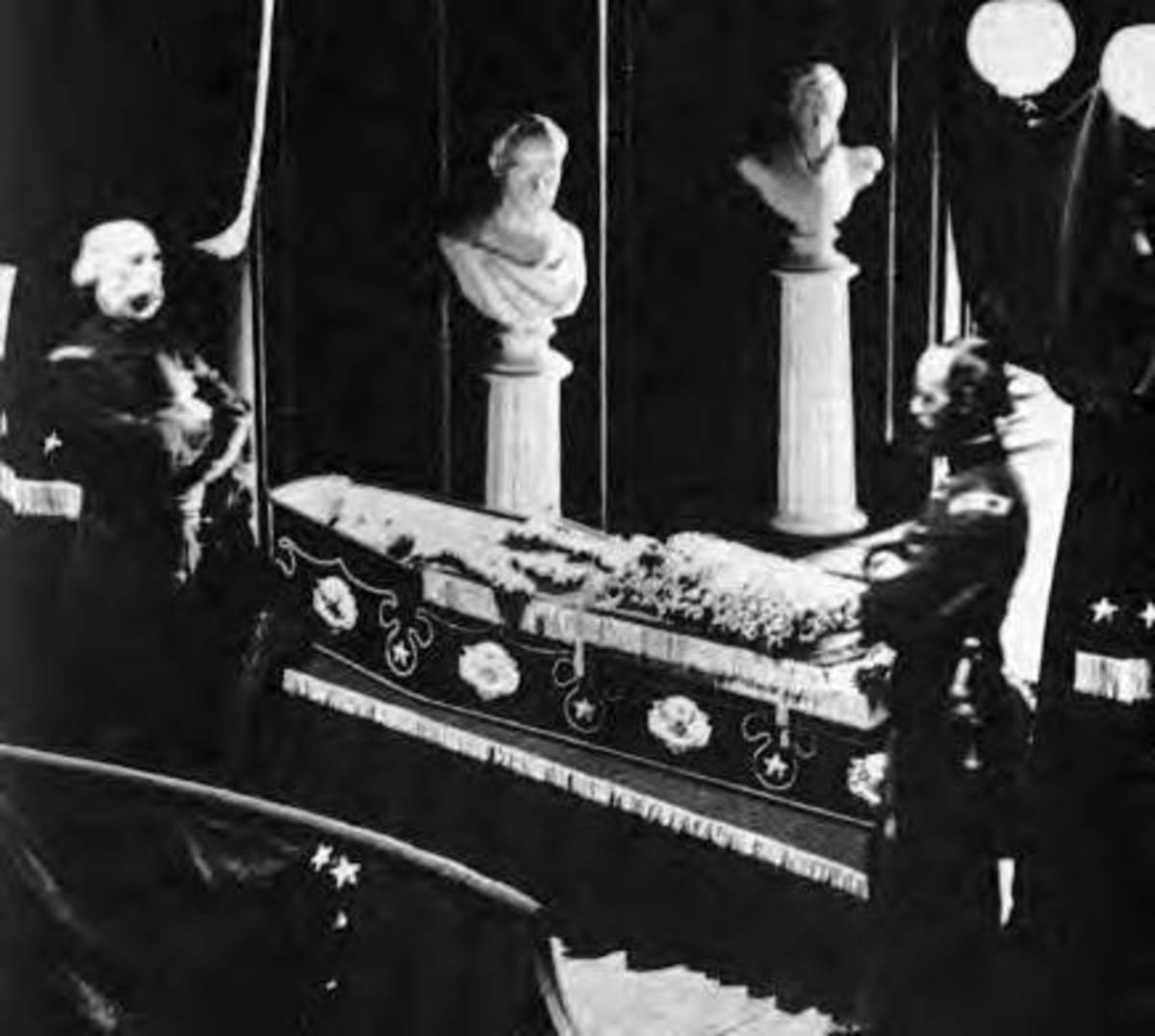 President Lincoln In His Coffin In City Hall In New York City. This is the only photo known to exist of President Lincoln in his coffin.
