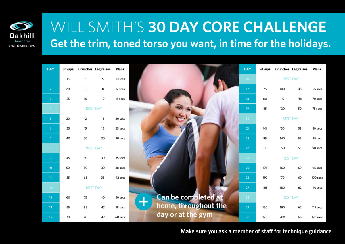 30 Day Core Challenge Poster in with a pretty brunette and a personal trainer performing sits ups with a list of suggested exercises