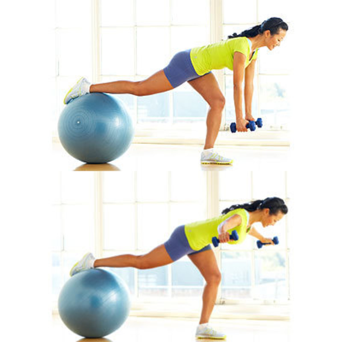 reverse fly with the balance ball in lieu of the weight bench