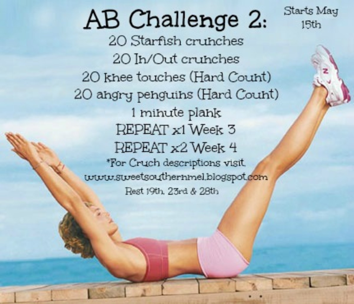colorful ab challenge poster with a water background and a girl in a two piece pink workout outfit and a list of specific abdominal exercises