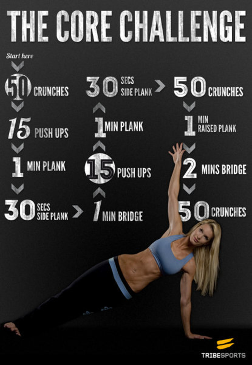 30 day abdominal challenge poster in pink and black with a photo of a female torso with specific exercises and repetitions and a pretty blond in a two piece fitness outfit in purple and black