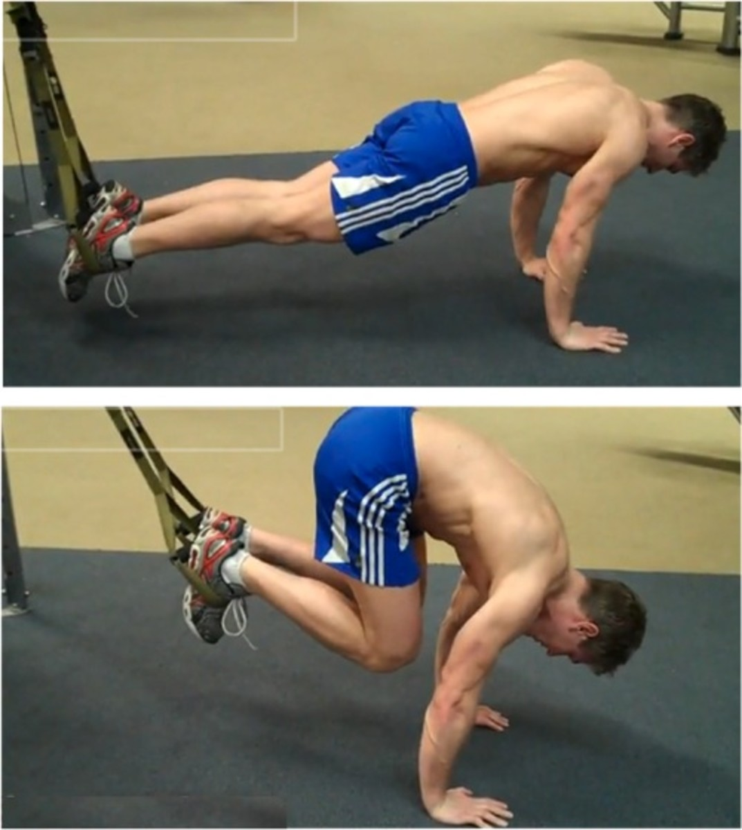 demonstration of the suspended abdominal crunch using the TRX with bare chested male in blue workout shorts showcasing starting movement split screen with the second movement