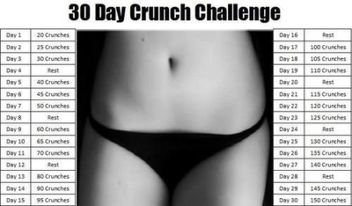 "female tight abs in a black and white photo with the title ""30 Day Crunch Challenge"""