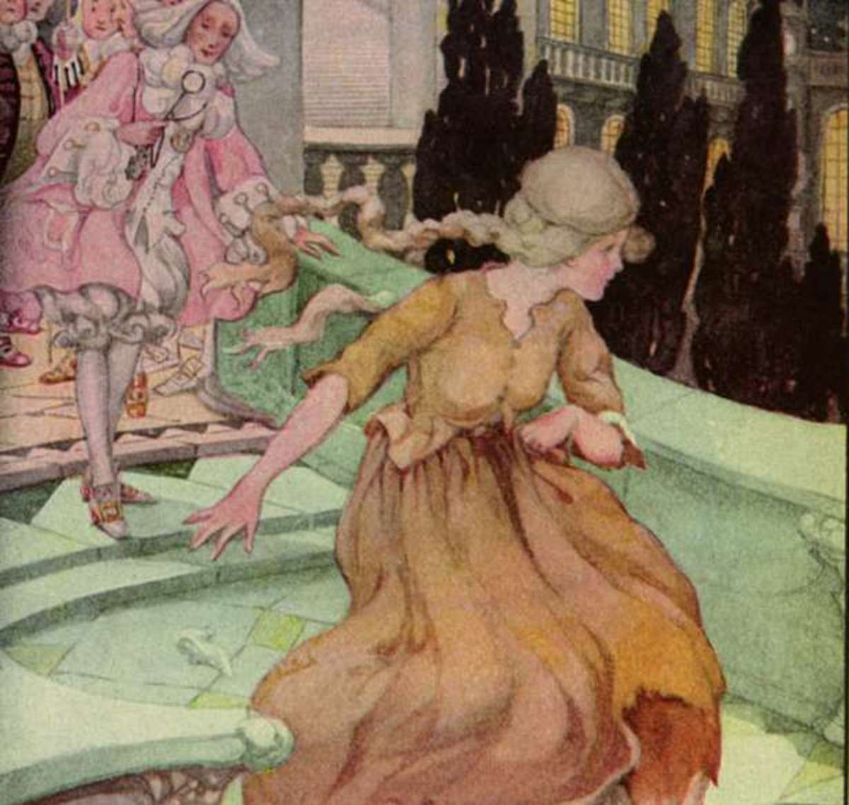 Cinderella running away, illustrated by Anne Anderson