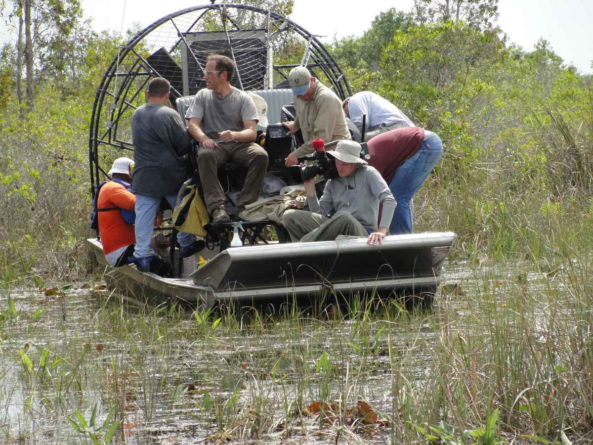 People riding on a wind or air boat, used to travel in the swamp.
