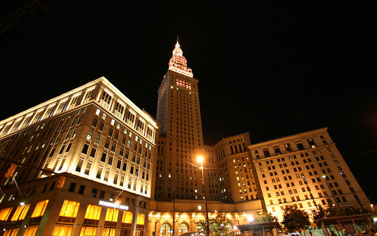 The old Cleveland Union Terminal is now part of a business district downtown called Tower City Center.