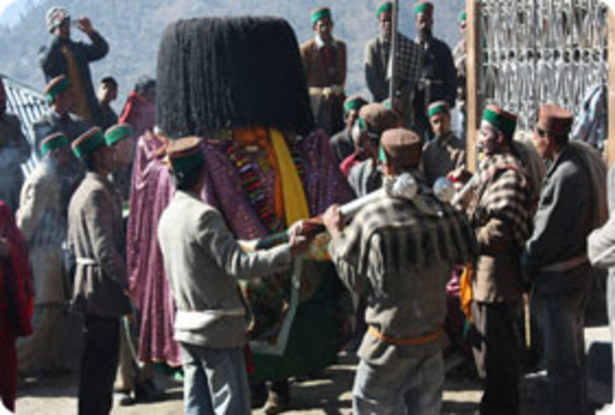 People Carrying the Deity During Festival