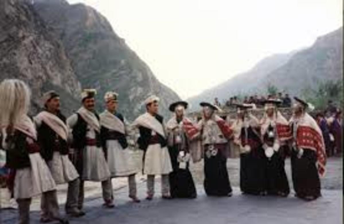 Himachali dance during a festival in the Lahaul region