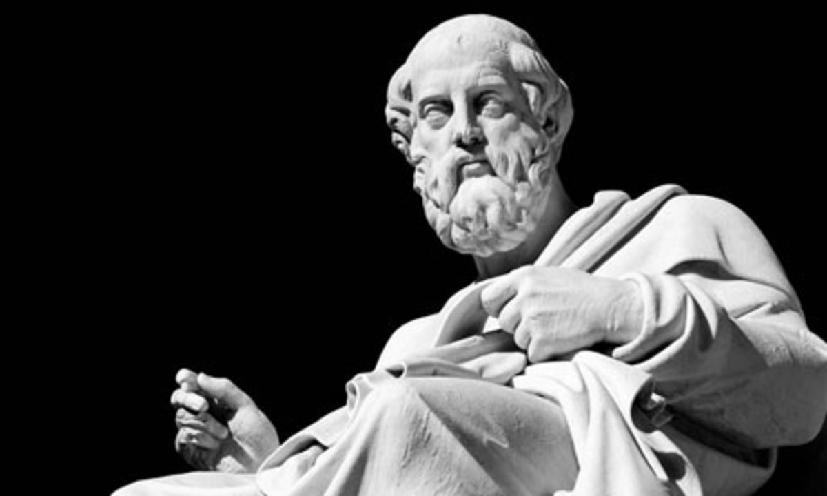 Marble staue of Plato in Athens Greece