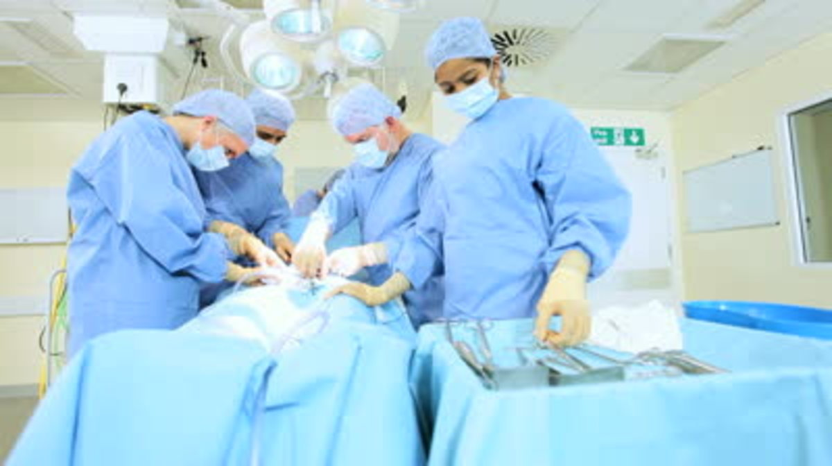Multi ethnic medical team performing operation in hospital operating theater