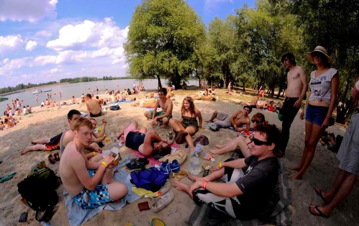 Exit visitors on Danube beach