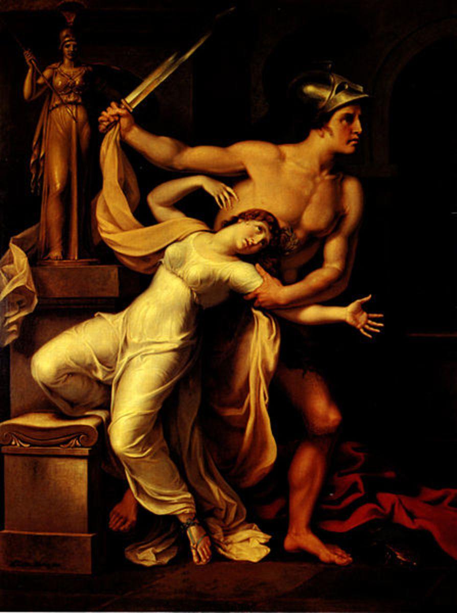 Ajax the Lesser Raping Cassandra on Athena's Throne