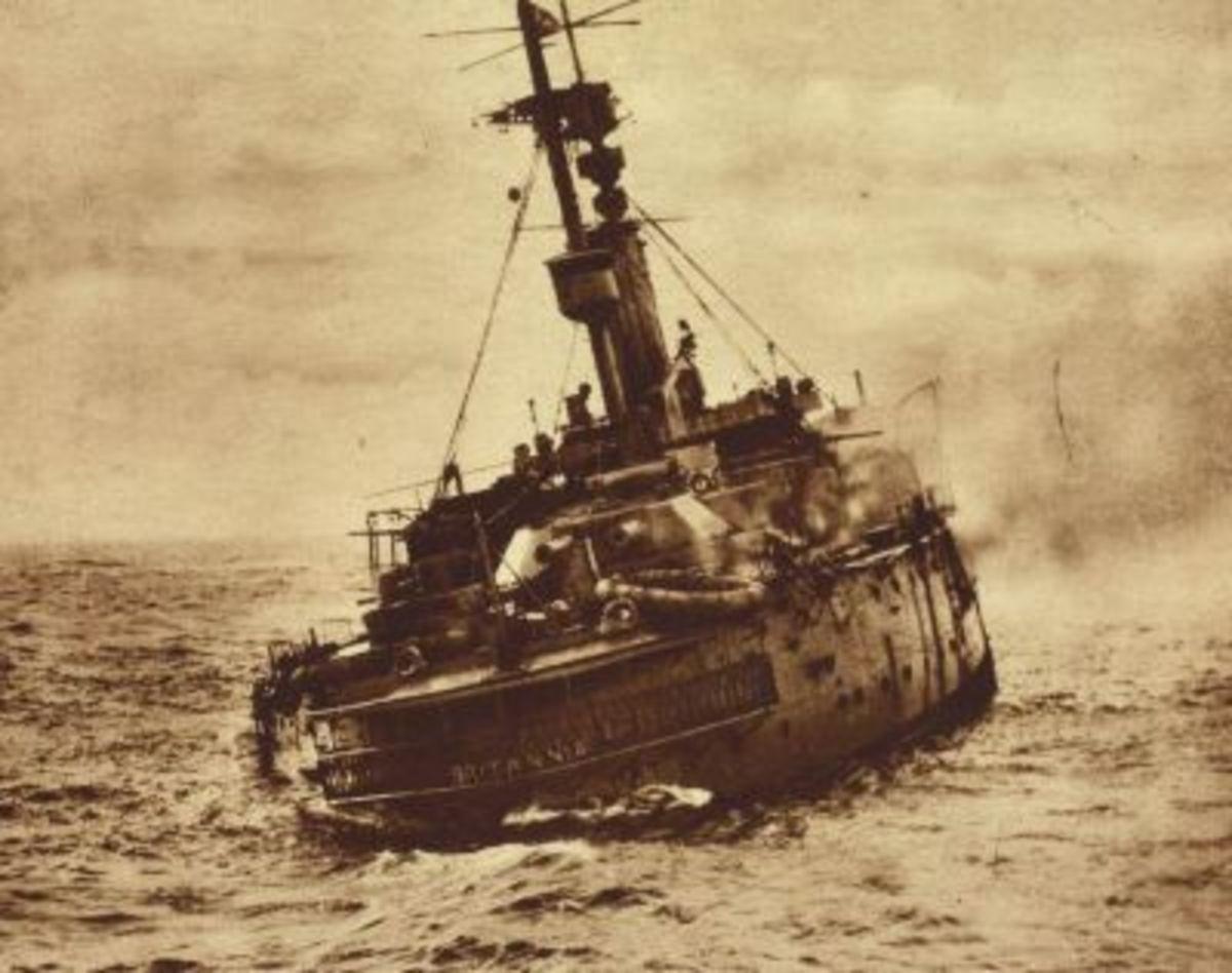 HMS Britannia, shortly after being struck by a torpedo near Gilbraltar, 9 Nov 1918